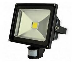 Proiector COB-LED exterior 50W alb rece cu senzor PIR