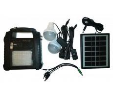 OEM Sistem Iluminare LED cu Incarcare Solara, 2 Becuri LED si Lampa Portabila cu FM si MP3 player GD-8052