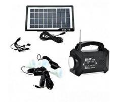 OEM Sistem Iluminare LED cu Incarcare Solara, 3 Becuri LED si Lampa Portabila cu FM si MP3 player GD-8056