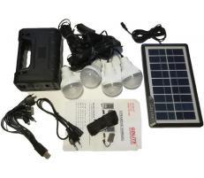 Sistem Iluminare LED cu Incarcare Solara, 4 Becuri LED si Lampa Portabila GD-8038