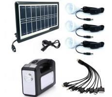 Sistem Iluminare LED cu Incarcare Solara, 3 Becuri LED si Lampa Portabila