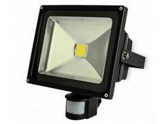 Proiector COB-LED exterior 70W alb rece cu senzor PIR