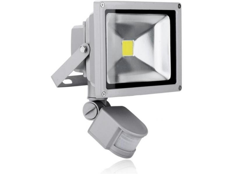 Proiector COB-LED exterior 30W alb rece cu senzor PIR