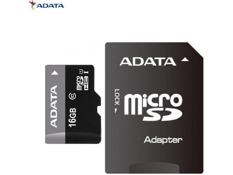 Card de memorie Adata microSDHC AUSDH16GUICL10-RA1, 16GB, Clasa 10 + adaptor SD