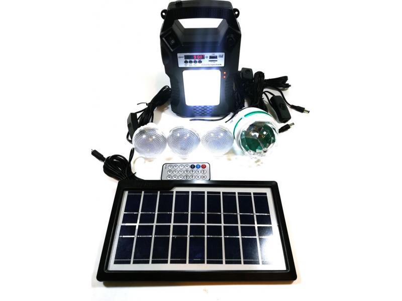 OEM Sistem Iluminare LED cu Incarcare Solara, 3 Becuri LED, 1 bec disco si Lampa Portabila cu FM si MP3 player GD-8060