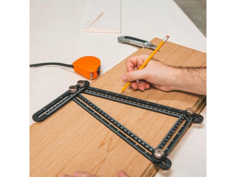 Handy Rigla metalica cuadrilaterala, cu copiator de unghi - 31 x 18 cm