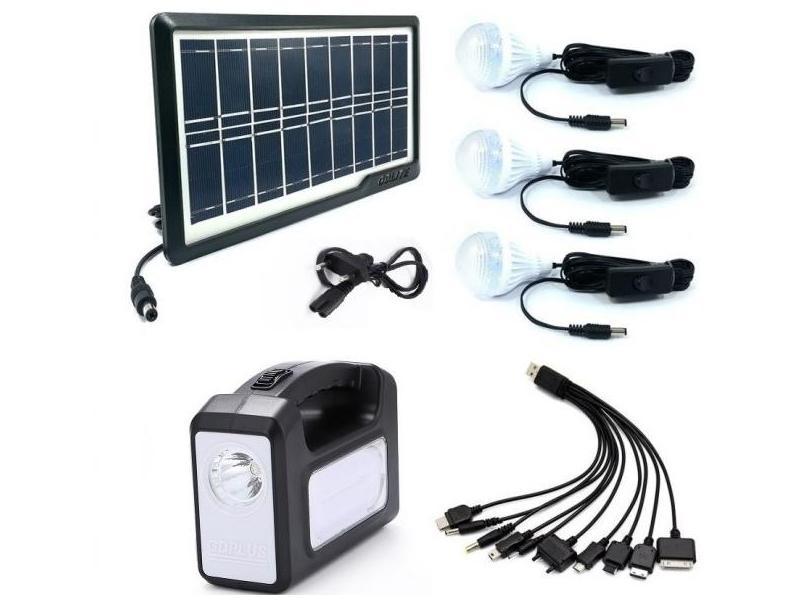 Sistem Iluminare LED cu Incarcare Solara, 3 Becuri LED si Lampa Portabila GD-7