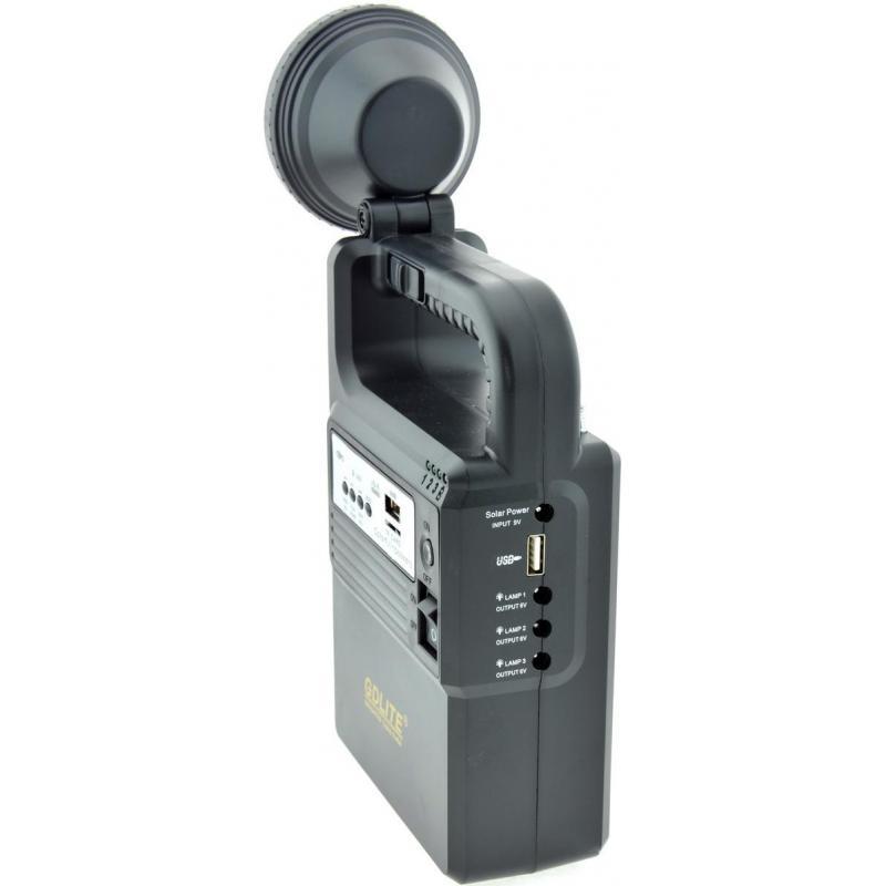 Sistem Iluminare LED cu Incarcare Solara, 3 Becuri LED, MP3, radio FM si Lampa Portabila GD-8133